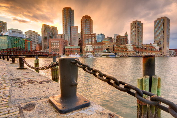 The Boston skyline viewed from the waterfront.