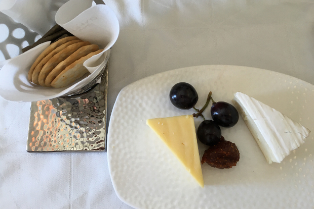 A cheese plate and crackers