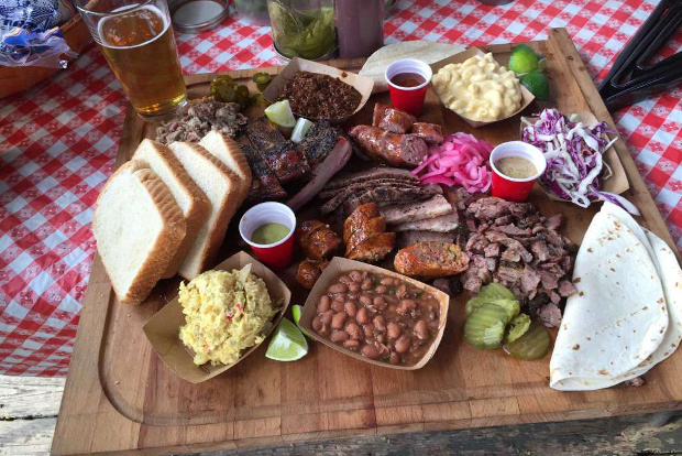 A spread of traditional BBQ foods
