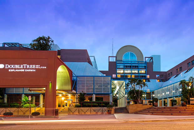 The exterior of the DoubleTree by Hilton hotel in Darwin.