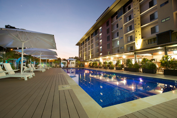 The pool at the Novotel Darwin Airport hotel.