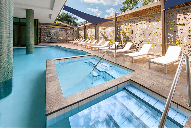 The pool at the Vibe Hotel Darwin.