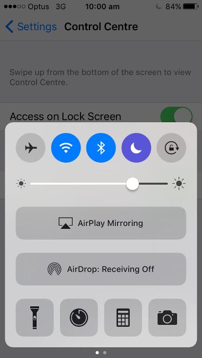 A screenshot of an iphone control centre