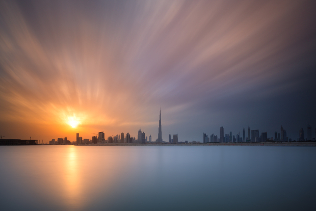 The Dubai skyline at sunset