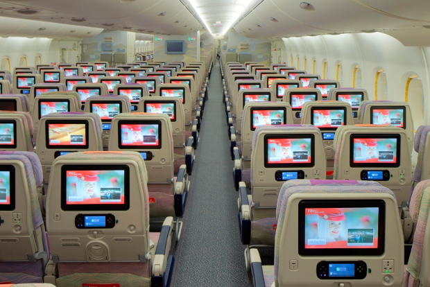 A look at the seatback entertainment screens in economy class