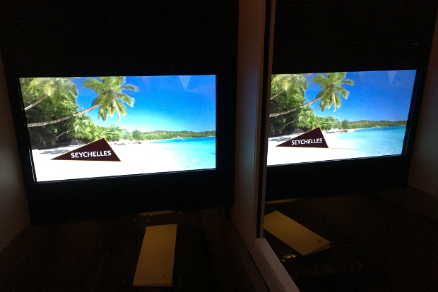 Looking at two entertainment screens side by side
