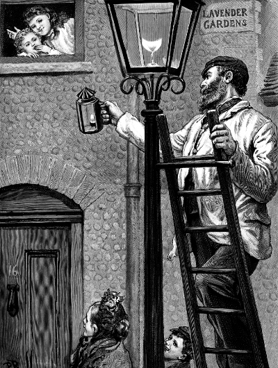 A drawing of an old-time lamplighter working