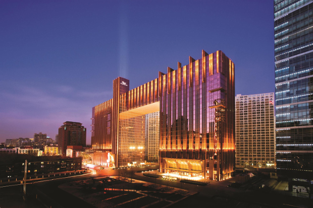 The exterior of the Fairmont Beijing at night