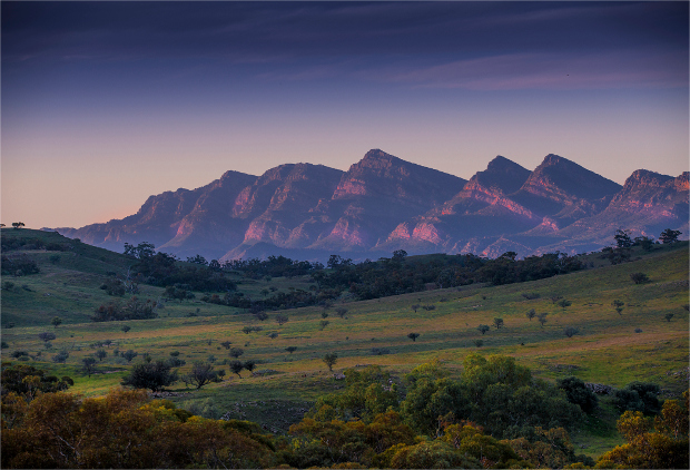 A view of the Flinders Ranges from afar at sunset