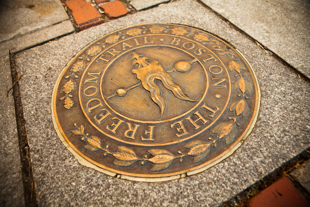 Overhead photograph of one of the Freedom Trail street markers
