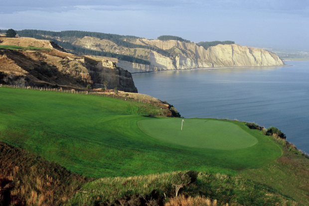 The dramatic clifftop Cape Kidnappers golf course in New Zealand.