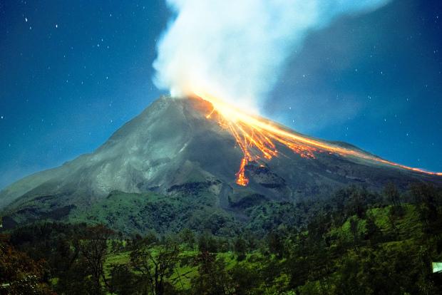 Indonesia's Mt Merapi volcano is an awesome sight from Merapi Golf Yogyakarta.