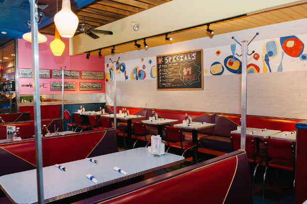 A view of the diner booths and tables