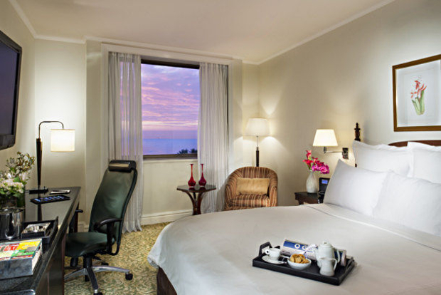 A view of one of the hotel's rooms with an ocean view