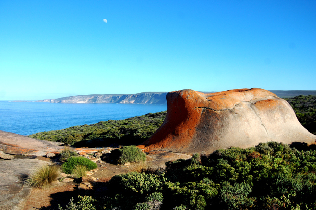 Looking over the unique rock formations out to the ocean on Kangaroo Island
