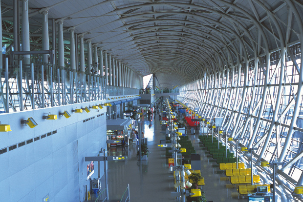 The interior of the light-filled Kansai International Airport