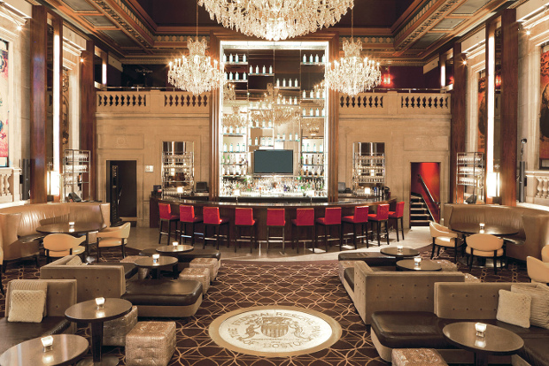 A view of one of the bars at the Langham Boston