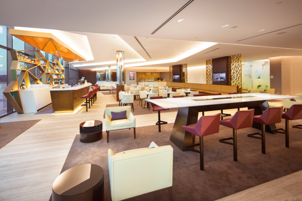 A view of lounve showing seating and the bar area