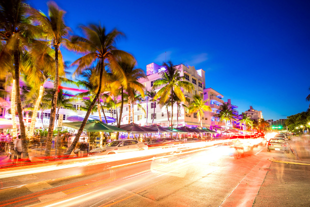 A night view of Ocean Drive