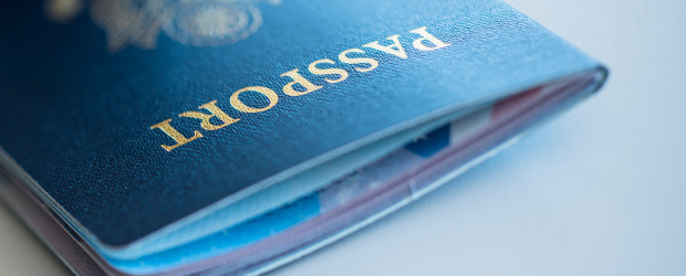 A close up of the front cover of a passport