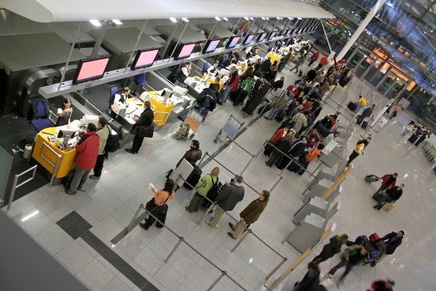An birds eye view of an airport check-in terminal