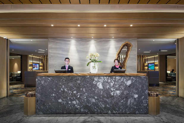 The front desk of one of the lounges in the Taiwan International Airport