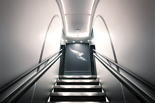 The stairs up to the Qantas First Class cabin