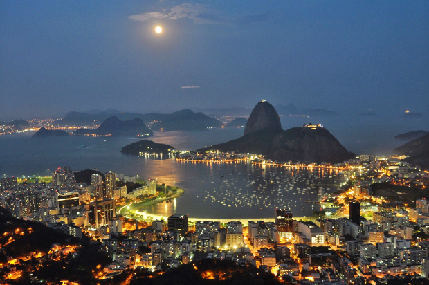 A night view of Rio with all of the city lights shining