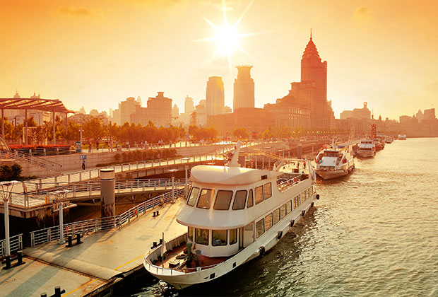 The sun sets on a spectacular Huangpu River cruise in Shanghai