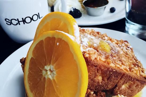 A plate of breakfast food