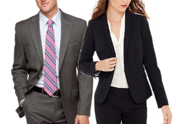 Male and female model wearing professional suits