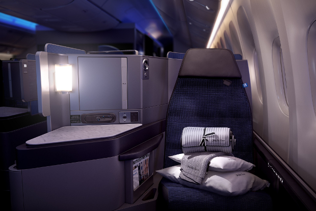 A front view of the new Polaris business class seat