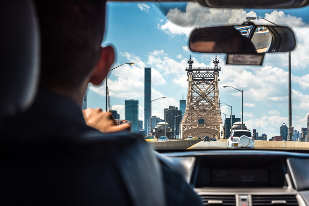 A man driving in New York