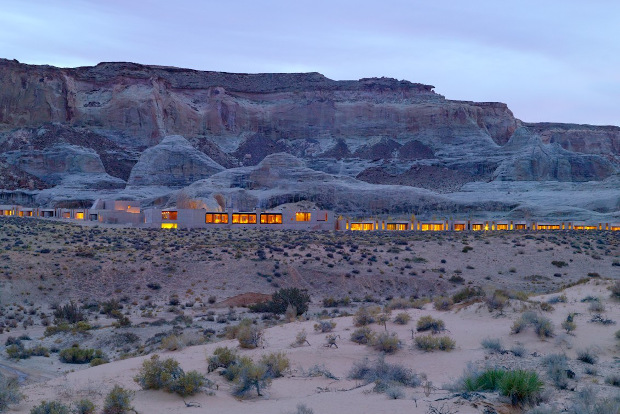 The luxurious Amangiri resort in Utah blends into the desert environment.