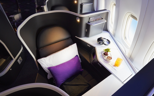 A close-up of the new VA Business Class seat