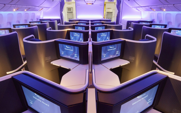 A view of the VA Business Class cabins showing the entertainment screens