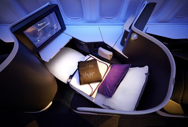 An overhead view of The Business class seat