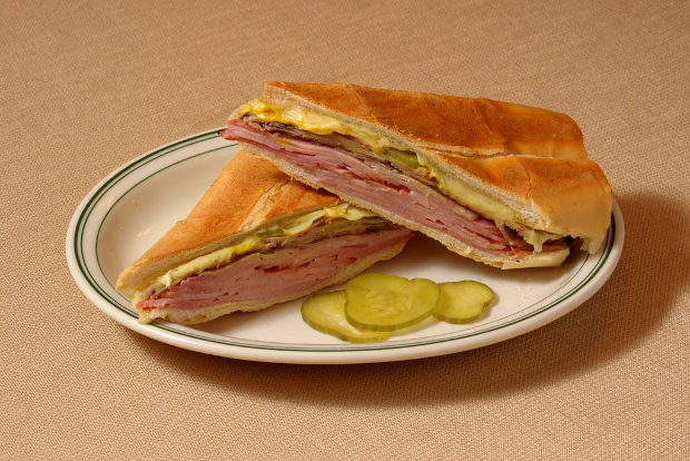 A Versailles Cuban sandwich on a plate