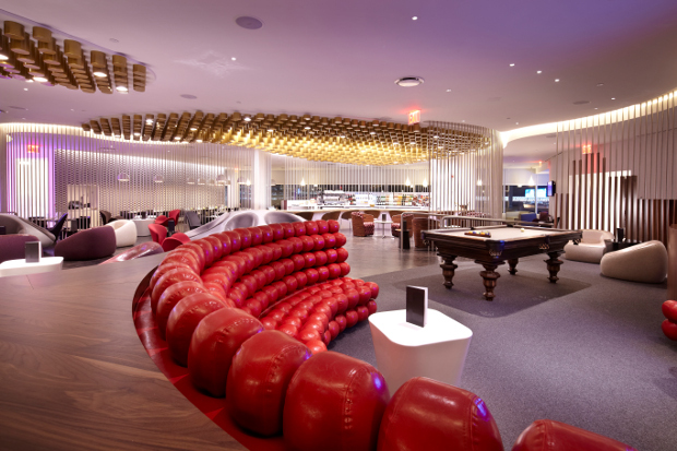 A view over the communal seating areas of the Virgin Atlantic lounge