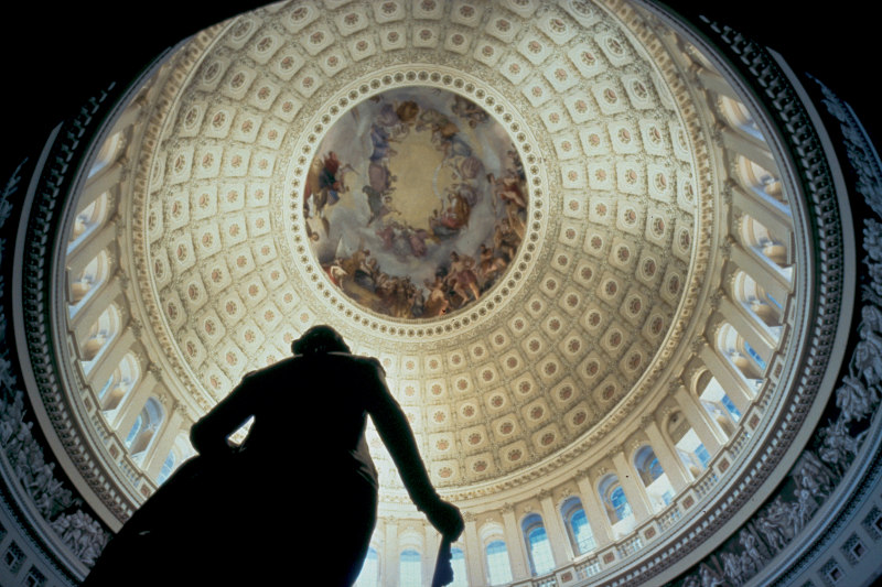 Inside the U.S. Capitol Building on the National Mall.