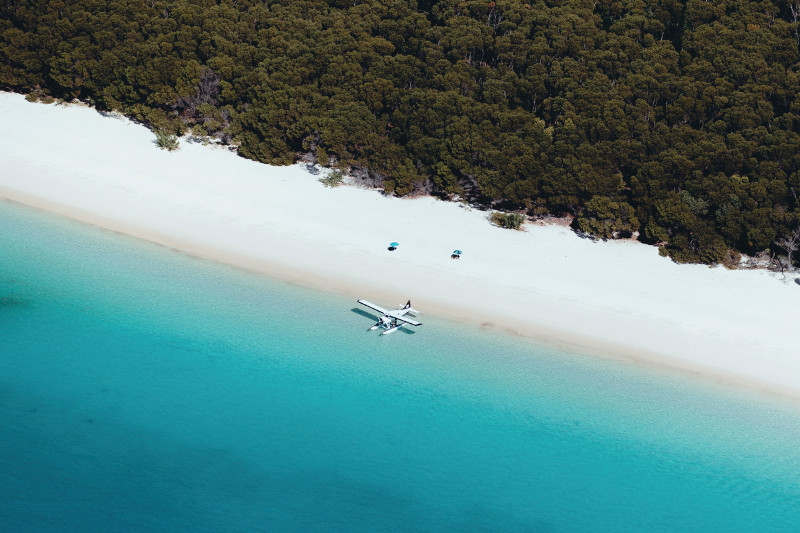 Whitehaven Beach with sea plane