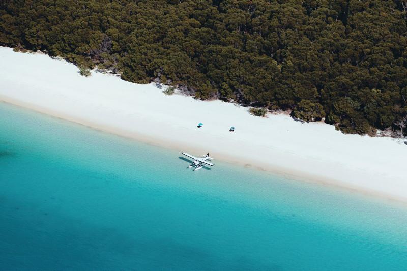 Whitehaven Beach with sea plane
