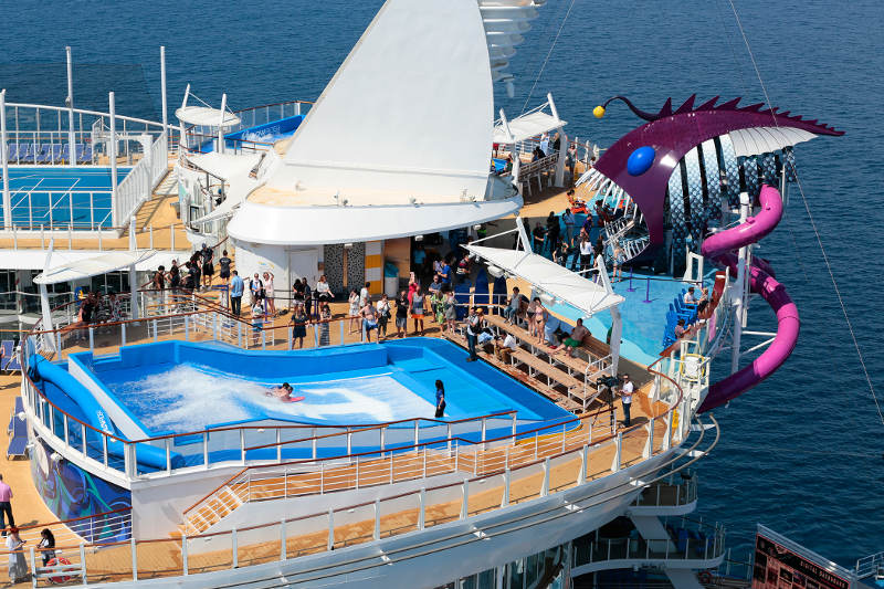 riding waves in wave pool ontop of cruise ship deck