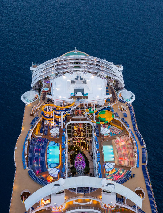 aerial of cruise ship sailing