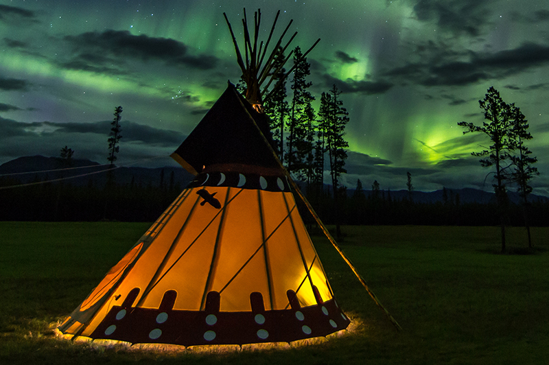 A tepee at Northern Lights Resort & Spa, YT