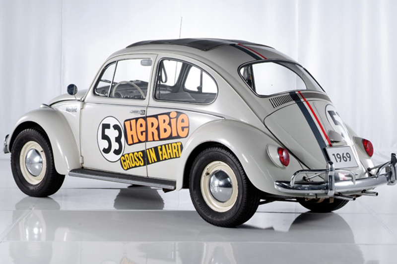 Herbie 'The Love Bug' on display at the Volkswagen Museum.