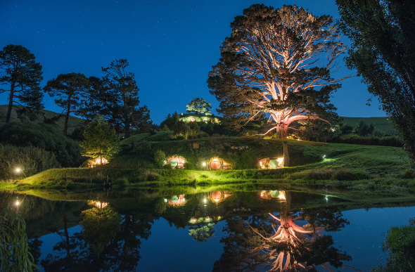 Hobbiton lit up at night