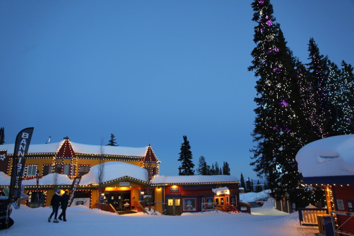 silverstar resort lit up at dusk