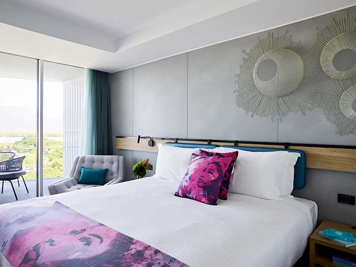 Guest room at Flynn, A Crystalbrook Collection Hotel