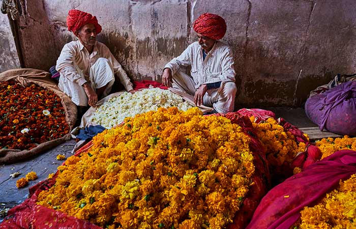 Piles of marigolds in Jaipur,